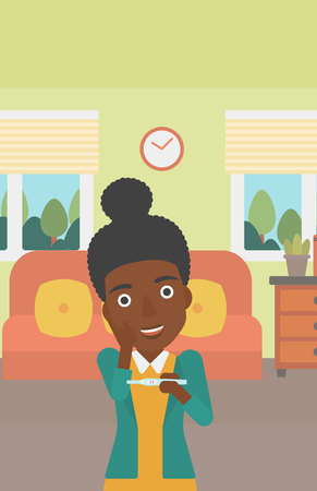 An african-american delighted woman looking at positive pregnancy test on the background of living room. Young woman checking pregnancy test. Vector flat design illustration. Vertical layout. Illustration