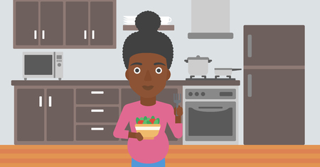 An african-american young pregnant woman holding bowl with vegetables in kitchen. Concept of healthy nutrition during pregnancy. Vector flat design illustration. Horizontal layout.