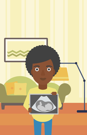 An african-american pregnant woman standing with ultrasound image on the background of living room. Pregnant woman showing ultrasound photo. Vector flat design illustration. Vertical layout.