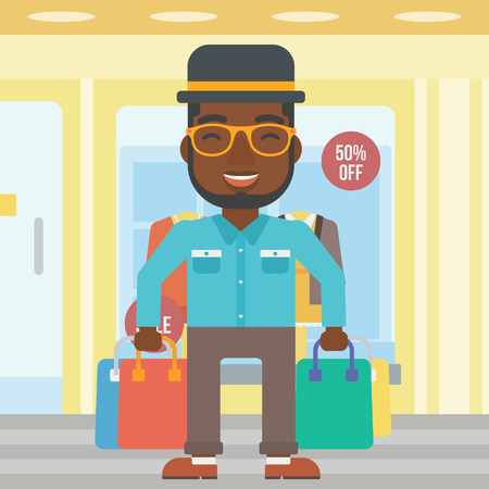An african-american man holding shopping bags on the background of boutique window with dressed mannequins. Happy young man carrying shopping bags. Vector flat design illustration. Square layout.