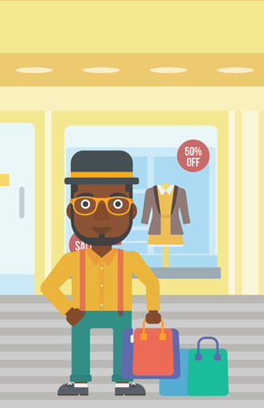 An african-american man holding shopping bags on the background of boutique window with dressed mannequins. Happy young man carrying shopping bags. Vector flat design illustration. Vertical layout. Ilustração