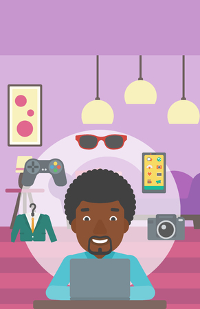 An african-american man sitting in front of laptop and some images of goods around him. Man doing online shopping. Man buying on internet. Vector flat design illustration. Vertical layout. Illustration