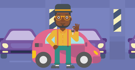 An african-american man holding keys to his new car. Happy young man showing key to his new car on the background of car shop. Vector flat design illustration. Horizontal layout.
