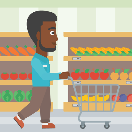 An african-american man pushing empty supermarket cart. Customer shopping at supermarket with cart. Man walking with trolley on aisle at supermarket. Vector flat design illustration. Square layout. Illustration