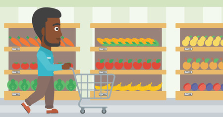 African-american man pushing empty supermarket cart. Customer shopping at supermarket with cart. Man walking with trolley on aisle at supermarket. Vector flat design illustration. Horizontal layout. Illustration