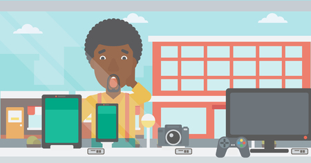 Astonished man looking at digital tablet and smartphone through shop window. An african-american man with open mouth looking at tablet and phone. Vector flat design illustration. Horizontal layout.