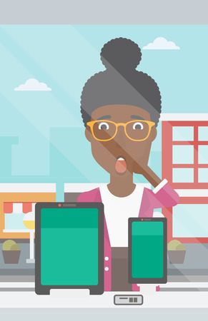 Astonished woman looking at digital tablet and smartphone through shop window. An african-american woman with open mouth looking at tablet and phone. Vector flat design illustration. Vertical layout. Ilustração