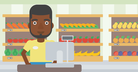 An african-american young cashier standing at the checkout in supermarket. Male cashier working at checkout in supermarket. Vector flat design illustration. Horizontal layout.