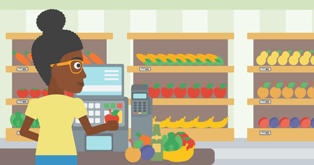 An african-american young female cashier standing at the checkout at the supermarket. Female cashier working at checkout at the supermarket. Vector flat design illustration. Horizontal layout. 向量圖像