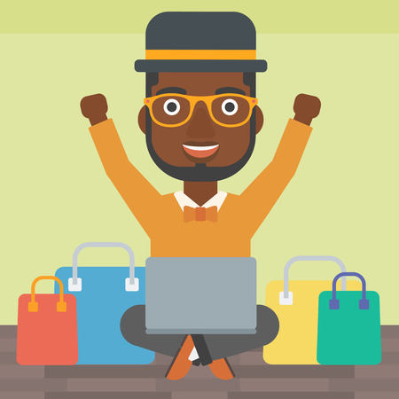An african-american man with hands up using laptop for shopping online. Customer sitting with shopping bags around him. Man doing online shopping. Vector flat design illustration. Square layout.