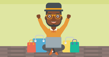 An african-american man with hands up using laptop for shopping online. Customer sitting with shopping bags around him. Man doing online shopping. Vector flat design illustration. Horizontal layout. 向量圖像
