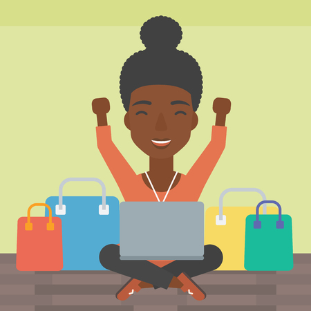 An african-american woman with hands up using laptop for shopping online. Customer sitting with shopping bags around him. Woman doing online shopping. Vector flat design illustration. Square layout.