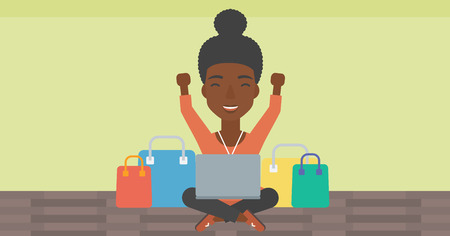 An african-american woman with hands up using laptop for shopping online. Customer sitting with shopping bags around her and doing online shopping. Vector flat design illustration. Horizontal layout. 向量圖像