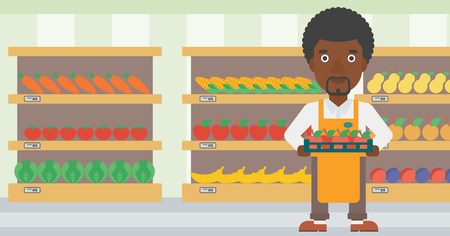 An african-american male supermarket worker holding a box with apples on the background of shelves with vegetables and fruits in supermarket. Vector flat design illustration. Horizontal layout. Vettoriali