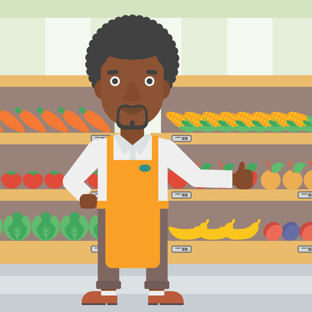 An african-american male supermarket worker showing thumb up on the background of shelves with vegetables and fruits in supermarket. Vector flat design illustration. Square layout. 向量圖像