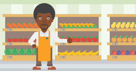 An african-american male supermarket worker showing thumb up on the background of shelves with vegetables and fruits in supermarket. Vector flat design illustration. Horizontal layout. 向量圖像