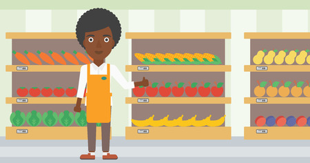 An african-american female supermarket worker showing thumb up on the background of shelves with vegetables and fruits in supermarket. Vector flat design illustration. Horizontal layout. 向量圖像