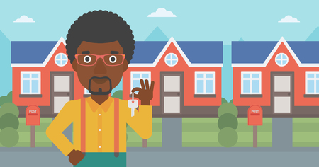 Young male real estate agent holding key. An african-american man with keys standing in front of the house. Happy new owner of a house. Vector flat design illustration. Horizontal layout. 向量圖像