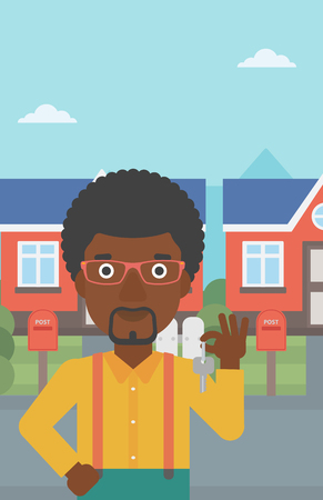 Young male real estate agent holding key. An african-american man with keys standing in front of the house. Happy new owner of a house. Vector flat design illustration. Vertical layout. 向量圖像