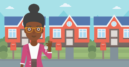 Young female real estate agent holding key. An african-american woman with keys standing in front of the house. Happy new owner of a house. Vector flat design illustration. Horizontal layout. 向量圖像