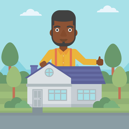 An african-american man standing behind the house and showing thumb up. Real estate agent offering the house. Young man giving thumbs up. Vector flat design illustration. Square layout. 向量圖像