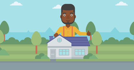 An african-american man standing behind the house and showing thumb up. Real estate agent offering the house. Young man giving thumbs up. Vector flat design illustration. Horizontal layout.