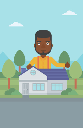 An african-american man standing behind the house and showing thumb up. Real estate agent offering the house. Young man giving thumbs up. Vector flat design illustration. Vertical layout.