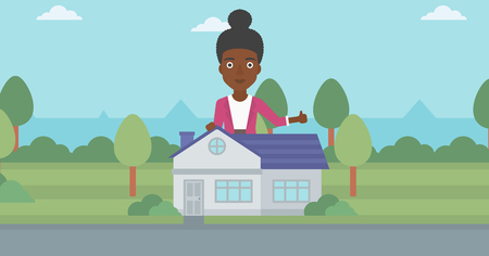 An african-american woman standing behind the house and showing thumb up. Female real estate agent offering the house. Young woman giving thumb up. Vector flat design illustration. Horizontal layout.