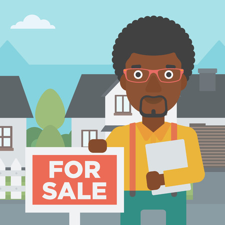 An african-american real estate agent offering the house. Male broker with placard for sale and documents in hands standing in front of the house. Vector flat design illustration. Square layout.