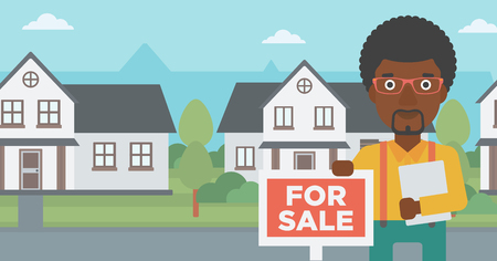 An african-american real estate agent offering the house. Male broker with placard for sale and documents in hands standing in front of the house. Vector flat design illustration. Horizontal layout.