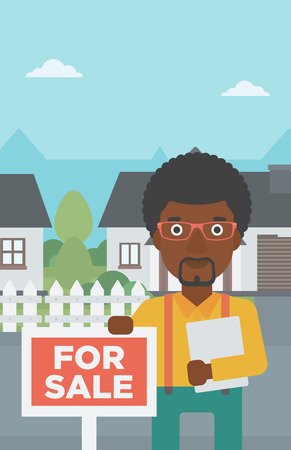 An african-american real estate agent offering the house. Male broker with placard for sale and documents in hands standing in front of the house. Vector flat design illustration. Vertical layout. 向量圖像