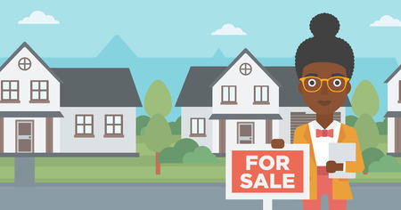 An african-american real estate agent offering the house. Female broker with placard for sale and documents in hands standing in front of the house. Vector flat design illustration. Horizontal layout.
