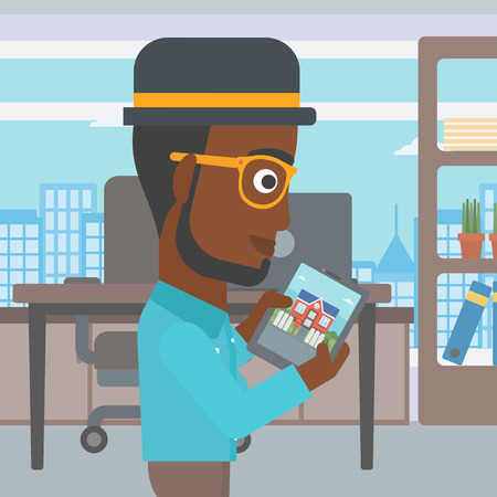 An african-american man looking at house on a digital tablet screen. Young man standing in office and looking for house on tablet computer. Vector flat design illustration. Square layout.