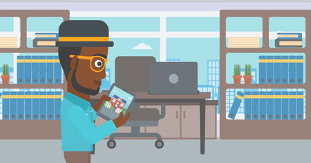 An african-american man looking at house on a digital tablet screen. Young man standing in office and looking for house on tablet computer. Vector flat design illustration. Horizontal layout. 向量圖像