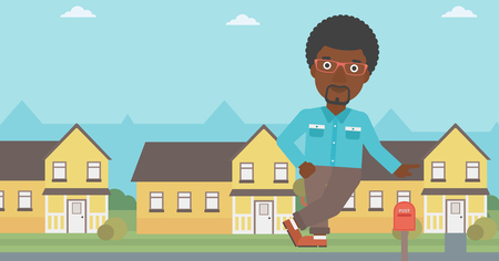 An african-american real estate agent standing near the house. Real estate agent leaning on the house. Real estate agent offering house. Vector flat design illustration. Horizontal layout. 向量圖像