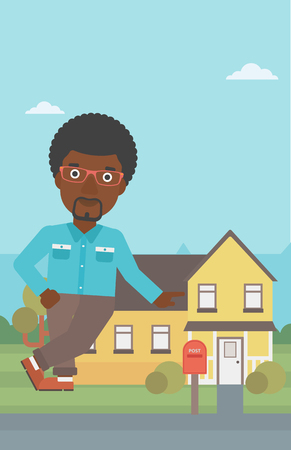 An african-american real estate agent standing near the house. Real estate agent leaning on the house. Real estate agent offering house. Vector flat design illustration. Vertical layout.