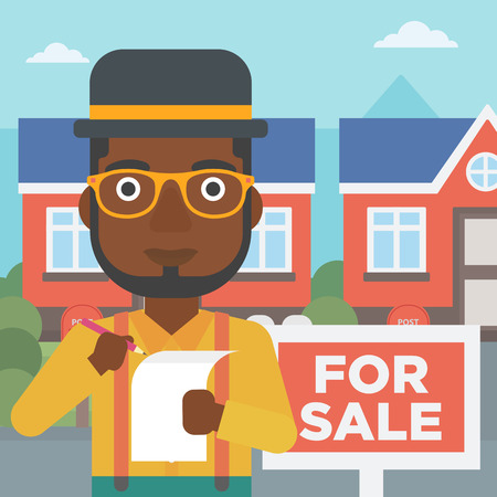 An african-american real estate agent signing contract. Real estate agent standing in front of the house with placard for sale. Vector flat design illustration. Square layout.