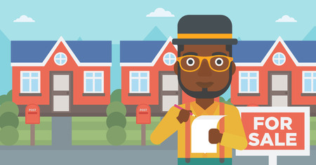 An african-american real estate agent signing contract. Real estate agent standing in front of the house with placard for sale. Vector flat design illustration. Horizontal layout. 向量圖像