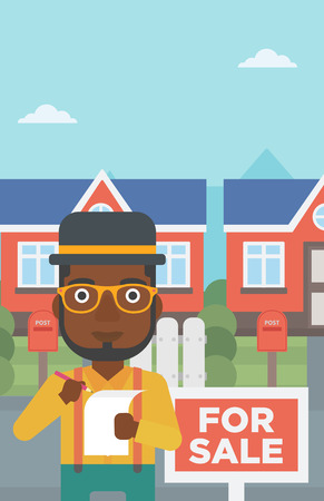 An african-american real estate agent signing contract. Real estate agent standing in front of the house with placard for sale. Vector flat design illustration. Vertical layout. Vector Illustratie