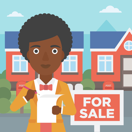 An african-american female real estate agent signing a contract. Young real estate agent standing in front of the house with placard for sale. Vector flat design illustration. Square layout.