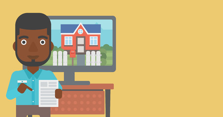 An african-american man standing in front of tv screen with house photo on it and pointing at a real estate contract. Vector flat design illustration. Horizontal layout.
