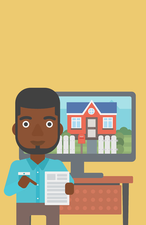 An african-american man standing in front of tv screen with house photo on it and pointing at a real estate contract. Vector flat design illustration. Vertical layout.