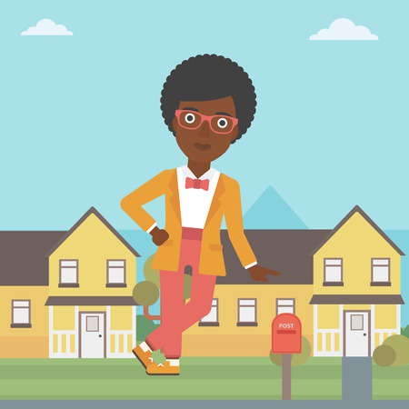 An african-american female real estate agent standing near the house. Real estate agent leaning on the house. Real estate agent offering house. Vector flat design illustration. Square layout. 向量圖像