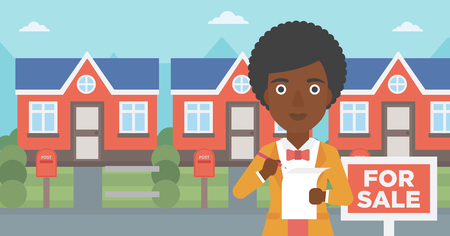 An african-american female real estate agent signing a contract. Young real estate agent standing in front of the house with placard for sale. Vector flat design illustration. Horizontal layout.
