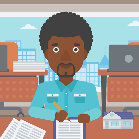 An african-american male real estate agent signing a contract. Young real estate agent sitting at workplace in office with a house model on the table. Vector flat design illustration. Square layout. 向量圖像