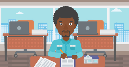 An african-american male real estate agent signing a contract. Real estate agent sitting at workplace in office with a house model on the table. Vector flat design illustration. Horizontal layout. 向量圖像