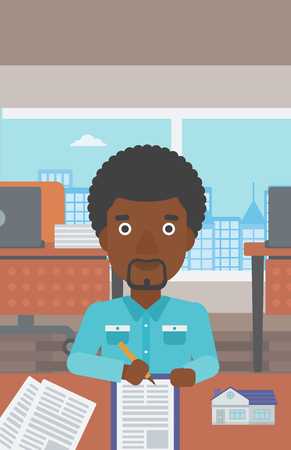 An african-american male real estate agent signing a contract. Young real estate agent sitting at workplace in office with a house model on the table. Vector flat design illustration. Vertical layout.