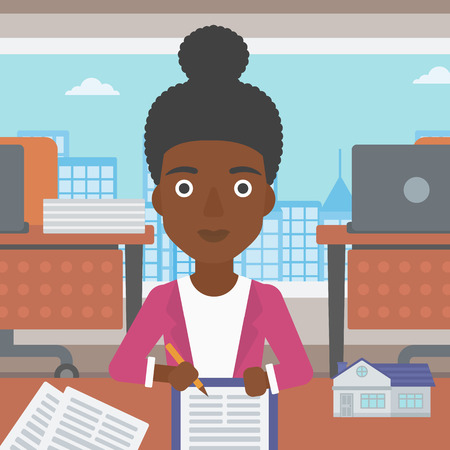 An african-american female real estate agent signing a contract. Real estate agent sitting at workplace in office with a house model on the table. Vector flat design illustration. Square layout.