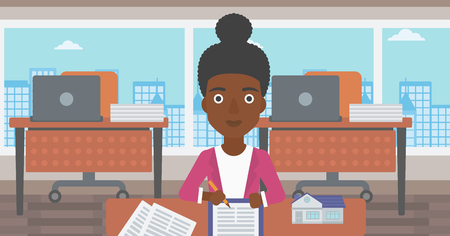 An african-american female real estate agent signing a contract. Real estate agent sitting at workplace in office with a house model on the table. Vector flat design illustration. Horizontal layout.