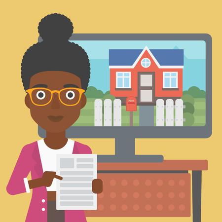 Una joven afroamericana de pie frente a la pantalla del televisor con una foto de la casa y apuntando a un contrato de bienes raíces. Ilustración de diseño plano de vector. Disposición cuadrada.